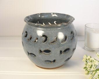 Pottery luminary, Candle holder, Candle lantern, Tealight lantern, Summer Candle holder, Pottery gift ideas.