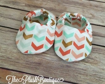 Colorful Chevron Arrow Baby Footies Crib Shoes Booties