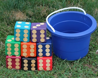 Outdoor yard dice ~ Yard games ~ Lawn dice ~ Lawn games ~Yahtzee, Farkle, Kubb, Jenga