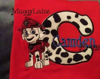 Patrol dog tee with name and initial
