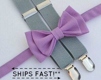 Gray Suspenders & Lavender Bow Tie with Lavender Pocket Square -- Ring Bearer Outfit -- Mens Bow Tie Suspenders Pocket Square