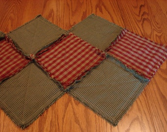 Table Runner, Homespun Rag Table Runner, Homespun Table Runner, Rag Quilt Table Runner, Red And Green Table Runner, Table Centerpiece