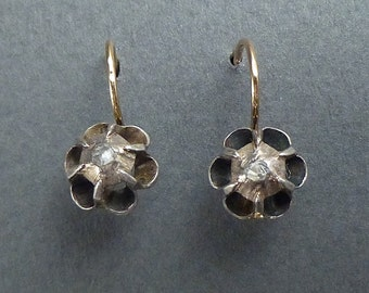 14K gold and silver rose diamond earrings