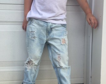 Acid Washed Distressed Skinny Jeans // Kids Acid Wash Skinnies // 90's style grunge kids ripped denim