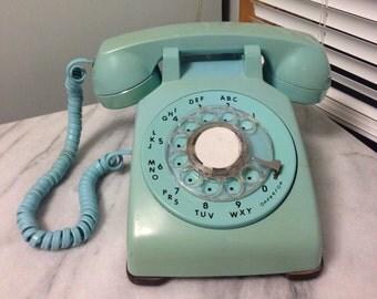 Turquoise Blue Desk Rotary Telephone By ITT