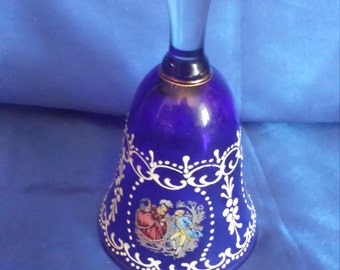 Bohemian Cobalt Blue Glass Bell with Hand-painted Decoration .