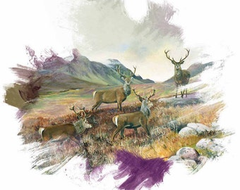 Scottish greetings card of Stags - modern stag - Blank greeting card Scottish cards - Scottish anniversary card - Animal cards - Art cards
