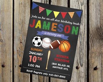 Allstar Sports Birthday Party Invitation DIGITAL PRINTABLE FILE