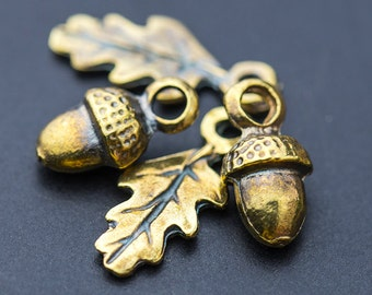 Greek Acorn Beads, Acorn & Leaf Drop Charms, Small Dangle Beads, Antique Bronze, Metal Casting Mykonos Greek, 2 Sets - MK63