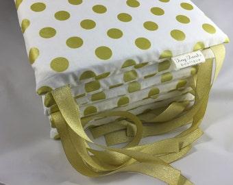 White Gold Baby Bedding, White Gold Polka Dot Bumper Pads, Nursery Bedding, Gender Neutral, Baby Girl, Polka Dot, Gold, White, Bumpers