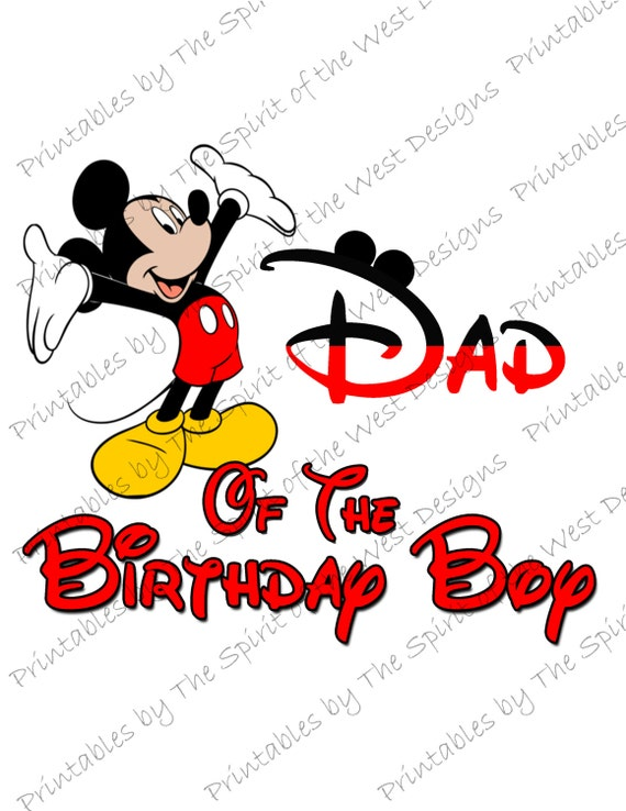 Dad Of The Birthday Boy Mickey Mouse Iron On IMAGE Ears