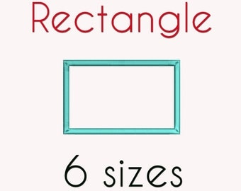 Rectangle Applique Machine  Embroidery Design, 6 Sizes, Basic Shape DIGITAL INSTANT DOWNLOAD 049
