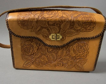 Vintage 1960's Western Tooled Handbag, Rockabilly Sweetness