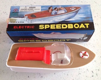 Vintage Electric Speedboat (New-Old Stock in box) T in a Circle Toys #372 Rare Toy!