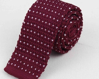 Red Knit Tie. Polka Dot Knit Tie. Gift for Men. Skinny Tie. Skinny Knitted Tie. Wedding Neckties - Wine Red Knit Tie