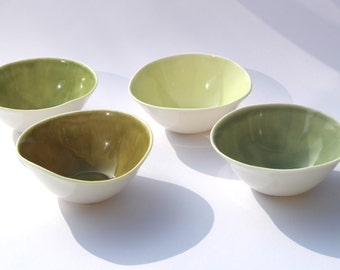 Green porcelain bowls SET asymmetric - FOUR SMALL handmade green and white ceramic pottery bowls - by Curve Ceramics