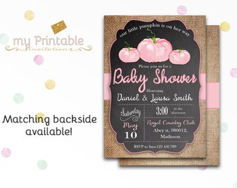 A Little Pumpkin is on Her Way Invitation / Digital Printable Baby Shower Invite / DIY Party