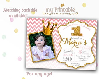 Little Princess Birthday Invitation with Photo / Printable