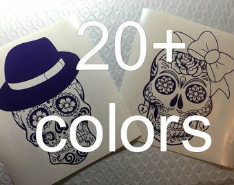 Skull Vinyl Decal / Sticker *Available in 24 Colors* \  bow \ hat \