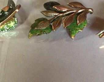 Vintage Renoir Matisse Leaf Copper Enamel Jewelry Set Circa 1950's