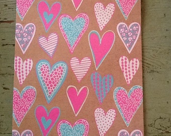 Heart Wrapping Paper.  Heart Gift Wrap. Hearts Folded Wrapping Paper.  Gift Wrap (68X50cm)