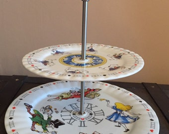 Alice in Wonderland Cake Stand 2 Tier