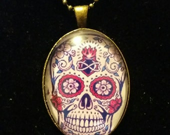 Day of the dead skull pendant necklace