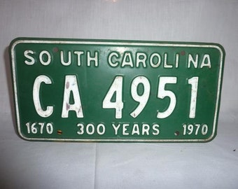 Vintage 1970 South Carolina License Plate