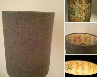 Grey wool lamp shade with butterfly print lining