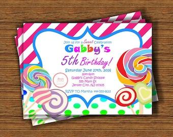 Candyland Theme Birthday Invitation: 4x6 or 5x7