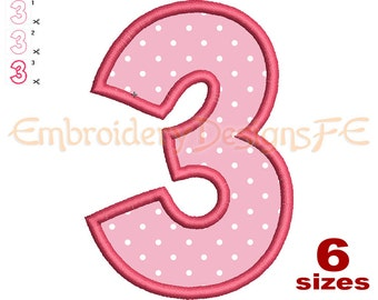 Number 3 Applique - 6 Sizes - Machine Embroidery Design File