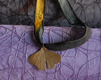 Large brass Ginkgo leaf pendant
