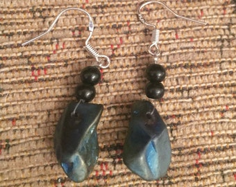 Titanium agate black and silver dangly earrings