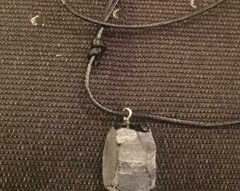 Obsidian rough shaped crystal pendant on black leather necklace