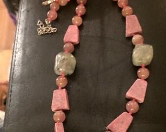 Prehnite and strawberry quartz necklace