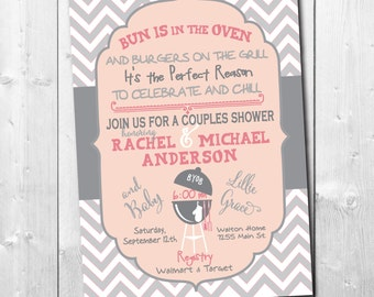 "Couples Baby Shower Invitation..""Bun is in the Oven.."" / digital file / printable / wording and colors can be changed"