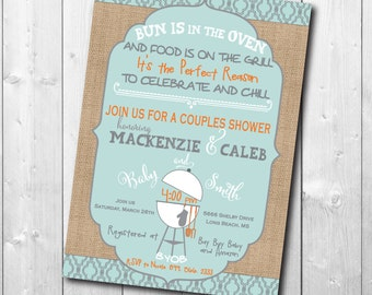 Couples Baby Shower, Baby Q Invitation printable/Digital File/Couples Baby Q Invitation, Bun in Oven, Chill and Grill/Wording can be changed