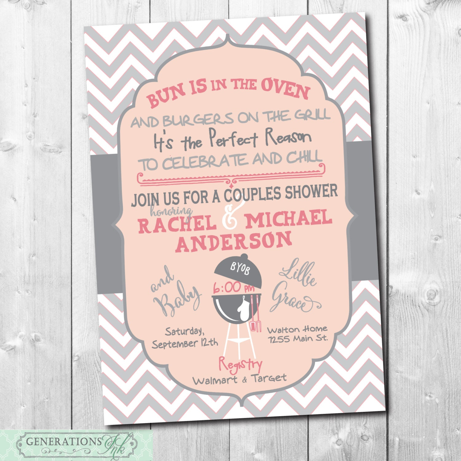 Baby Gifts For Couples : Couples baby shower invitation bun is in the