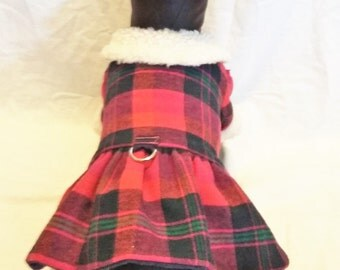 Winter Flannel/faux dog dress with hat