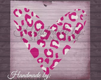 Leopard Print - Heart Decal- svg file - Heart File for Silhouette - Heart svg Cutting File For Cricut - Leopard print svg