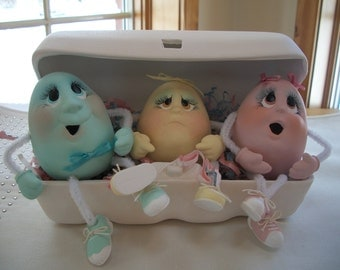 ceramic Easter Egg Carton with 3 egg noggin characters Easter decoration