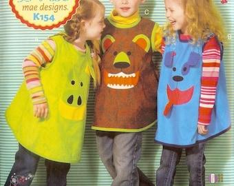 Kwik Sew sewing pattern K0154 (K154) Children's Smocks, Art Class, Kids Crafts - new and uncut