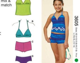Kwik Sew sewing pattern K3605 Girls Mix & Match Swimsuits, Childrens Swimsuits, Girls - new and uncut