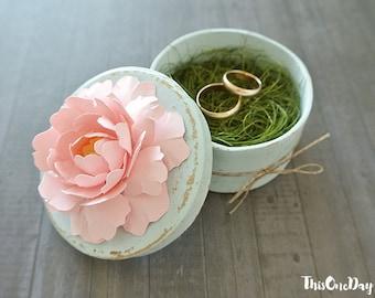 Wedding Ring Box. Ring Bearer Box. Shabby Chic Wedding. Rustic Bearer Box, Ring Pillow Alternative