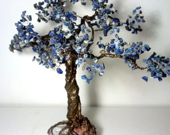 Wire tree with stones / tree of life  / gift with blue stones / bonsai tree large