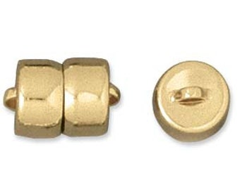 Tube of 12 MAG-LOK 8GP gold-plated magnetic button clasps.