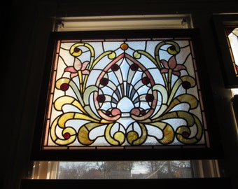 c.1890 Antique Combination Victorian Stained Glass Parlor Window, 15 jewels