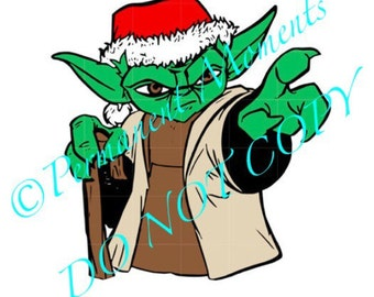 SVG STUDIO Christmas Star Wars Yoda Scalable Vector Instant Download Commercial Use Cutting File Cricut Explore Silhouette Cameo