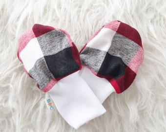 SALE - Baby Scratch Mittens - Red, Black and White Buffalo Check Plaid Lumberjack - Knit