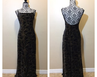 Vintage Black Velvet and Gold Dress | Vintage Prom Dress
